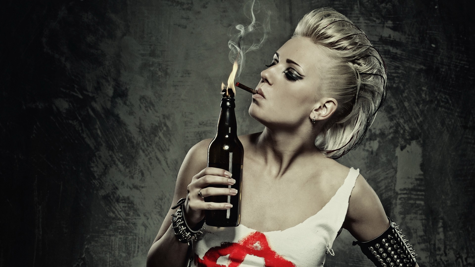 Humor Gamer Punk-girl-smoking-molotov-cocktail-wallpaper-1920x1080